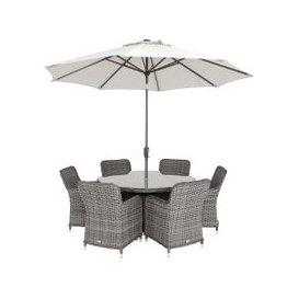 image-Lario Garden Round 6 Seat Dining Set and Parasol, Storm Grey Weave and Ash Grey Fabric
