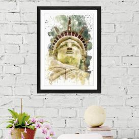 image-'Statue of Liberty New York USA City 8' Graphic Art Print East Urban Home Size: 62cm H x 45cm W, Format: Framed Picture