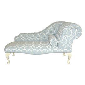 image-Loretta Chaise Longue Fairmont Park Upholstery: Bacio Smoke, Leg Finish: Cream, Orientation: Right-Hand Chaise