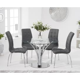 image-Aria 110cm Glass Dining Table with Calgary Faux Leather Chairs - Brown, 4 Chairs