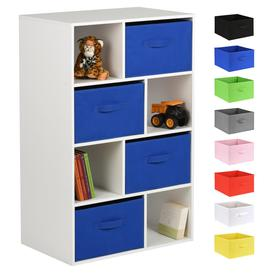 image-Hartleys White 8 Cube Kids Storage Unit & 4 Handled Box Drawers - Blue