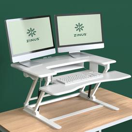 image-Tamara Double Standing Desk Converter Brayden Studio Colour: White