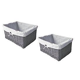 image-Rattan Basket Brambly Cottage Colour: Grey, Size: 12cm H x 32cm W x 22cm D