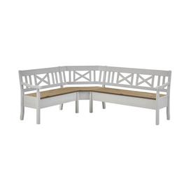 image-Pols Wooden Storage Bench August Grove Colour: White/Wine-coloured, Size: 93cm H x 213cm W x 170cm D, Arm track: With armrest