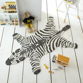 image-Zoe the Zebra 90cm x 150cm Rug Black and White