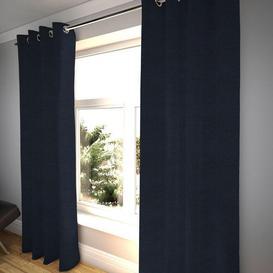 """image-Plain Chenille Navy Blue Curtains, 473cm(w) x 228cm(d) (186"""" x 90"""")"""