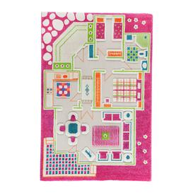 image-IVI World - Children's 3D Play Rug - Pink Play House - 100x150cm