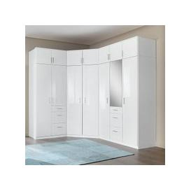 image-Alton Corner Wardrobe In High Gloss Alpine White With Mirror