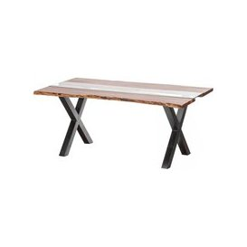 image-Hill Interiors Live Edge Glass Inlay Dining Table - Acacia Wood and Metal