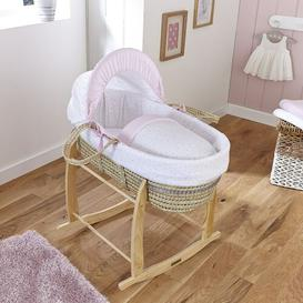 image-Stars and Stripes Moses Basket with Bedding Clair De Lune Colour: Pink