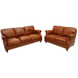 image-Bobby 2 Piece Leather Sofa Set Williston Forge Upholstery Colour: Tan