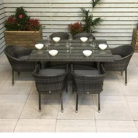 image-Signature Weave Garden Furniture Emily Grey 6 Seat Rectangle Dining Set