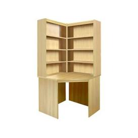 image-Small Office Corner Desk With Hutch Bookcase Set (Classic Oak)