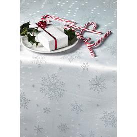 image-Christmas Snowflake Tablecloth Diana Cowpe Size: 137cm W x 183cm L, Colour: White