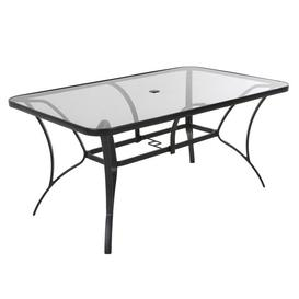 image-Cosco Outdoor Living Paloma Dark Grey Steel Frame Tempered Glass Top Dining Table