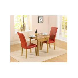 image-Mark Harris Promo Solid Oak Dining Set - 90cm Round Extending with 2 Atlanta Red Faux Leather Chairs