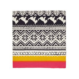 image-Joules Heritage Peony Knitted Throw, Gold