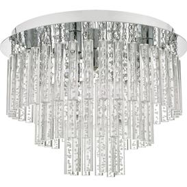 image-Dar PAU5450 Paulita 5 Light Semi Flush Bathroom Ceiling Light In Polished Chrome And Clear Glass
