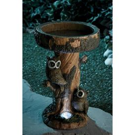image-Owl Bird Bath with Solar Light