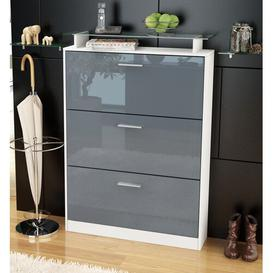 image-Lavia 24 Pair Shoe Storage Cabinet Vladon Finish: Grey (glossy)/White (matt), Lighting included: No