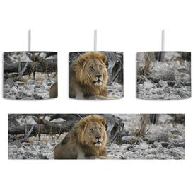 image-Lion in Rocky Landscape 1-Light Drum Pendant East Urban Home Shade Colour: Grey/Brown