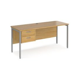 image-Value Line Deluxe H-Leg Narrow Rectangular Desk 2 Drawers (Silver Legs), 160wx60dx73h (cm), Oak, Free Next Day Delivery