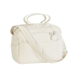 image-Ecru, White and Taupe Cotton Changing Bag