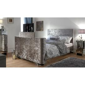 image-Newark Kingsize Electric TV Bed Silver Velvet 150cm