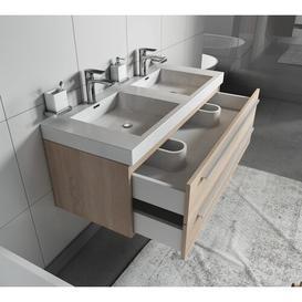 image-Kailyn 1200mm Wall Hung Double Vanity Unit Belfry Bathroom Vanity Base Colour: Light Oak