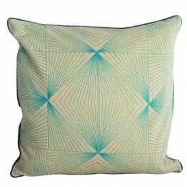 image-Square Blue Geometric print cushion
