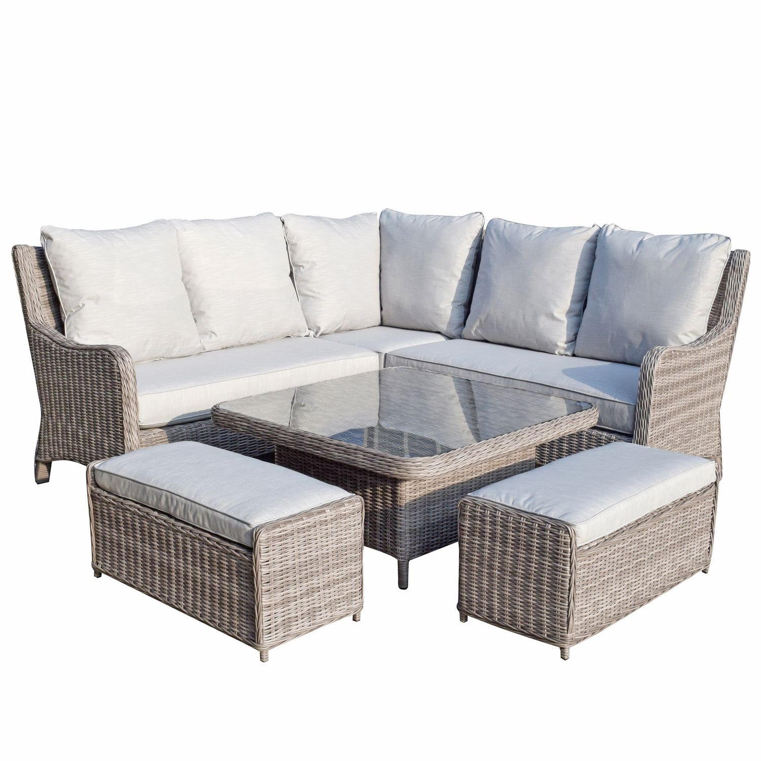 image-Signature Weave Garden Furniture Alexandra Corner Dining Sofa Set