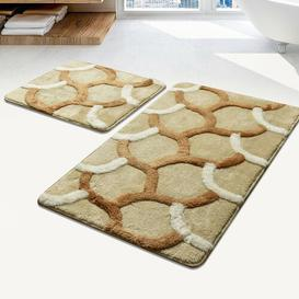 image-Bracken 2 Piece Rectangle Non-Slip Bath Mat Set Ebern Designs Colour: Beige