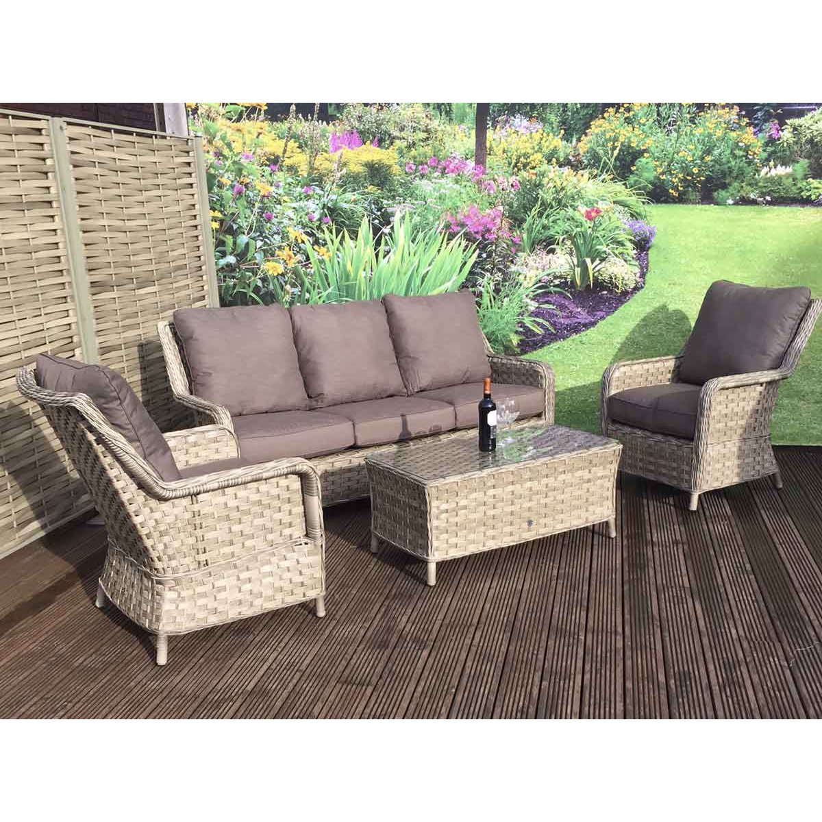 image-Signature Weave Garden Furniture Mia 3 Seater Sofa Set in 3 Weave Caramel