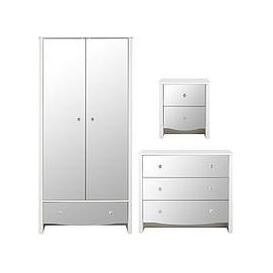 image-Alexis 3 Piece Kids Mirror Effect Bedroom Package - 2 Door Wardrobe, 3 Drawer Chest And Bedside Table