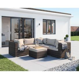 image-Rattan Garden Corner Sofa Set in Brown &amp Champagne - 6 Piece - Florida - Rattan Direct