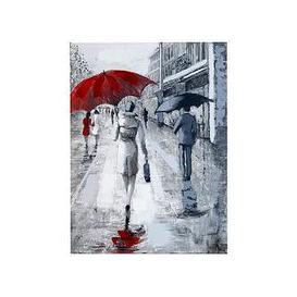 image-Arthouse  Rainy Street Scene Hand-Painted Canvas Wall Art