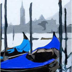 image-Gondoles Venise Bleue Wall Hanging Longshore Tides Size: 140 cm H x 160 cm W x 0.2 cm D