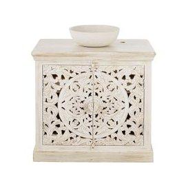 image-Aged Effect White Carved Solid Mango Wood Vanity Unit Kerala