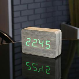 image-Modern Digital Birch Solid Wood Electric Alarm Tabletop Clock Symple Stuff Finish: Ash/Green