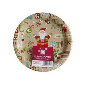 image-Small Christmas Paper Plates 15 Pack - Santa Text Design