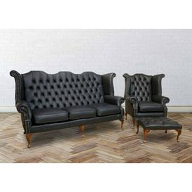 image-Mangume Chesterfield 3 Piece Leather Sofa Set Rosalind Wheeler