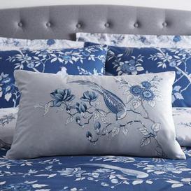 image-Oriental Bird Blue Boudoir Cushion Blue