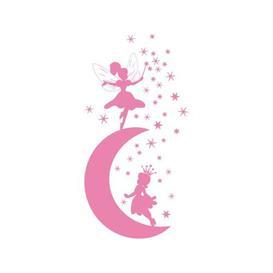 image-Moon, Fairy, Stars Wall Sticker East Urban Home Colour: Light pink, Size: 40 cm H x 79 cm W
