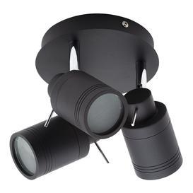 image-Hugo 3 Light Bathroom Ceiling Spotlight Plate - Matte Black
