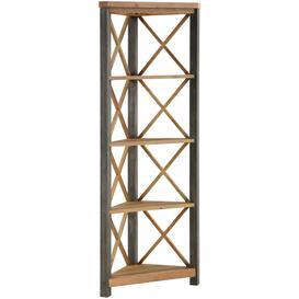 image-Urban Elegance Reclaimed Wood Large Corner Bookcase - Baumhaus
