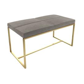 image-Euclid Dressing Table Stool Canora Grey Colour (Frame): Brass Brushed, Colour (Seat): Silver