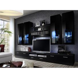 image-Lyra Entertainment Unit in 4 Colours - Black Gloss 300cm