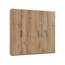 image-Alkesia Wooden Wardrobe In Planked Oak With 5 Doors