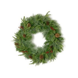 image-Cleveland Fir Feel-Real Christmas Wreath with 8 Red Berries & 8 Pine Cones - 2ft / 60cm