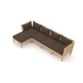 image-Taki Garden Corner Sofa with Cushions Sol 72 Outdoor Colour (Fabric): Brown